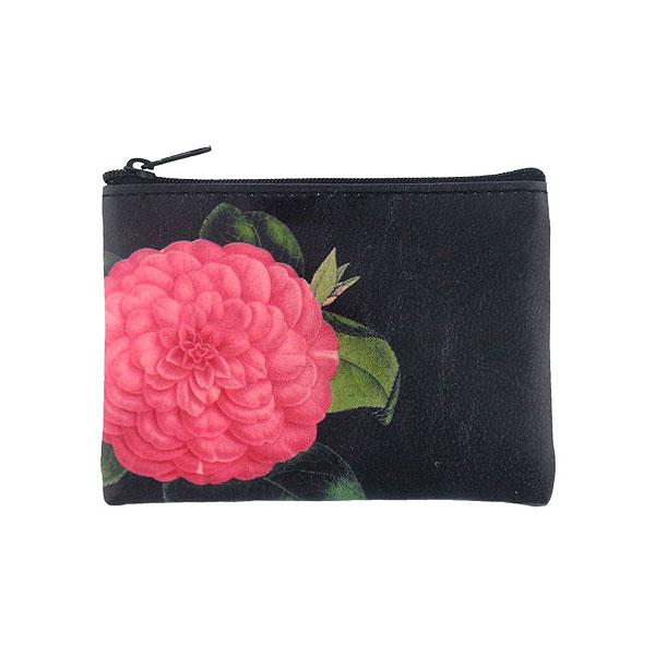 Shop PETA approved vegan brand LAVISHY's vegan/faux leather vintage style camellia flower print vegan coin purse. It's a great gift idea for you or your friends & family. Wholesale available at www.lavishy.com with many unique & fun fashion accessories.