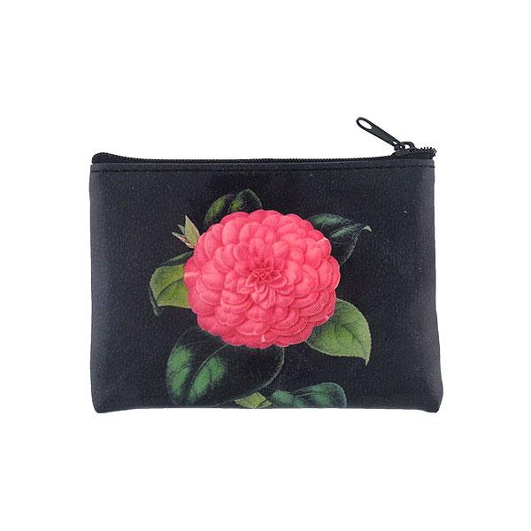 Shop vegan brand LAVISHY's vegan/faux leather vintage style camellia flower print vegan coin purse. It's a great gift idea for you or your friends & family. Wholesale available at www.lavishy.com with many unique & fun fashion accessories.
