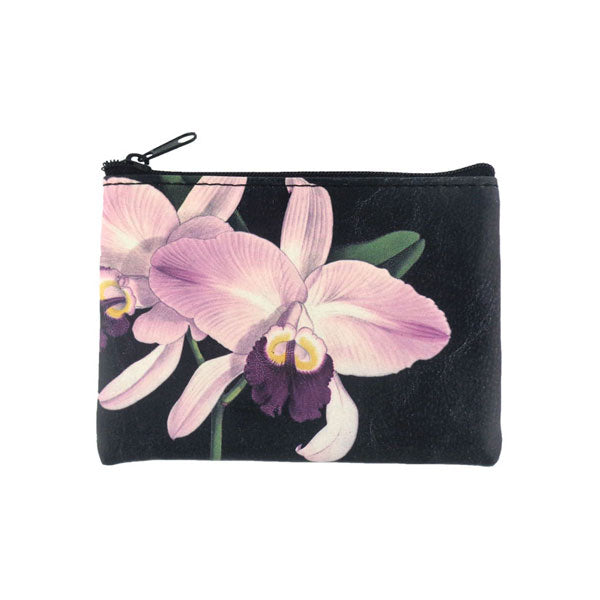 Shop PETA approved vegan brand LAVISHY's vegan/faux leather vintage style orchid flower print vegan coin purse. It's a great gift idea for you or your friends & family. Wholesale available at www.lavishy.com with many unique & fun fashion accessories.