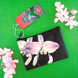 Online shopping for vegan brand LAVISHY's charming vintage style orchid flower print vegan coin purse. Great for everyday use, fun gift for family & friends. Wholesale at www.lavishy.com for gift shop, clothing & fashion accessories boutique, book store in Canada, USA & worldwide since 2001.
