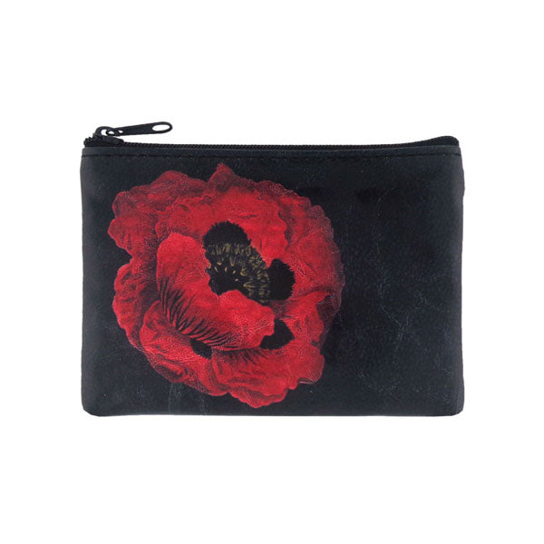 Shop vegan brand LAVISHY's vegan/faux leather vintage style poppy flower print vegan coin purse. It's a great gift idea for you or your friends & family. Wholesale available at www.lavishy.com with many unique & fun fashion accessories.