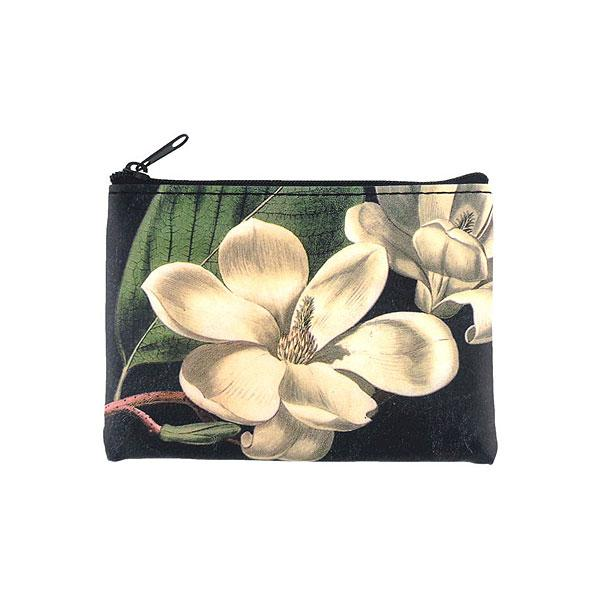 Shop PETA approved vegan brand LAVISHY's vegan/faux leather vintage style magnolia flower print vegan coin purse. It's a great gift idea for you or your friends & family. Wholesale available at www.lavishy.com with many unique & fun fashion accessories.