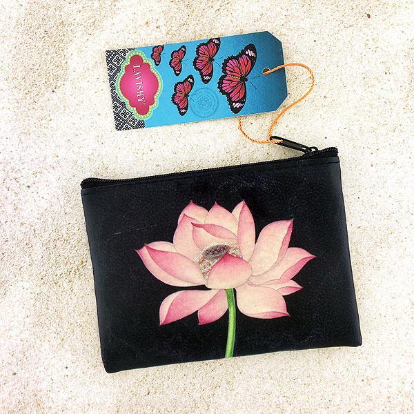 Shop vegan brand LAVISHY's vegan/faux leather vintage style lotus flower print vegan coin purse. It's a great gift idea for you or your friends & family. Wholesale available at www.lavishy.com with many unique & fun fashion accessories.