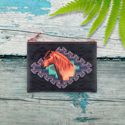 Online shopping for vegan brand LAVISHY's vintage style horse & American Southwest pattern print vegan coin purse. Great for everyday use, fun gift for family & friends. Wholesale at www.lavishy.com for gift shops, clothing & fashion accessories boutiques, book stores in Canada, USA & worldwide since 2001.