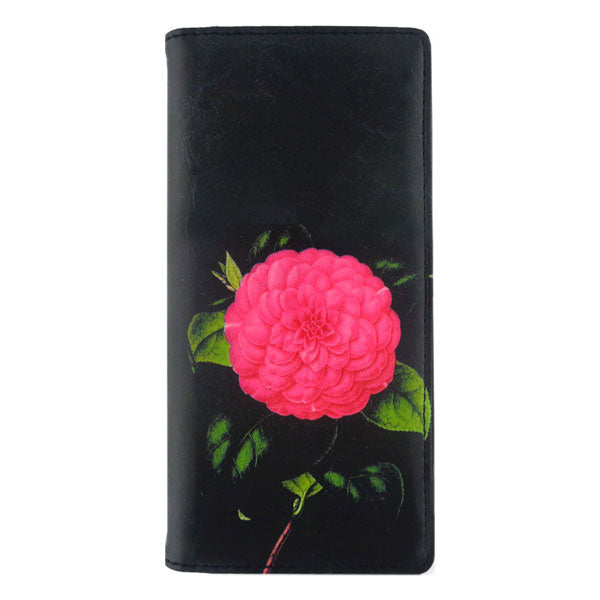 Shop vegan brand LAVISHY's vegan/faux leather vintage style camellia flower print vegan large wallet. It's a great gift idea for you or your friends & family. Wholesale available at www.lavishy.com with many unique & fun fashion accessories.