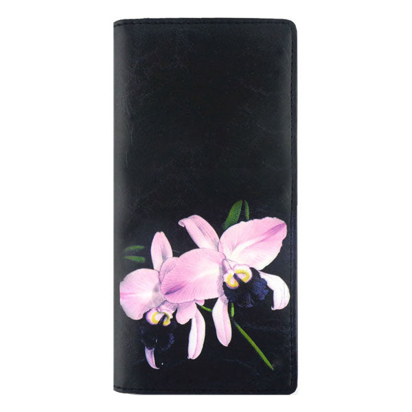 Online shopping for vegan brand LAVISHY's vegan/faux leather vintage style orchid flower print vegan large wallet. It's a great gift idea for you or your friends & family. Wholesale available at www.lavishy.com with many unique & fun fashion accessories.
