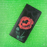 Online shopping for vegan brand LAVISHY's vegan/faux leather vintage style poppy flower print vegan large wallet. It's a great gift idea for you or your friends & family. Wholesale available at www.lavishy.com with many unique & fun fashion accessories.