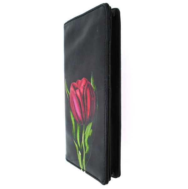 Online shopping for vegan brand LAVISHY's vegan/faux leather vintage style tulip flower print vegan large wallet. It's a great gift idea for you or your friends & family. Wholesale available at www.lavishy.com with many unique & fun fashion accessories.