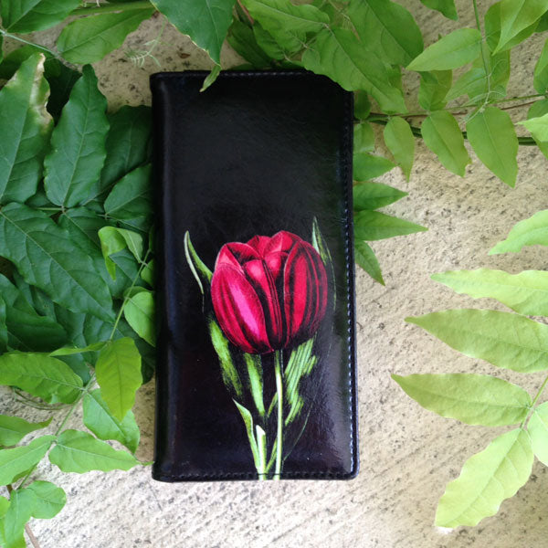Shop PETA approved vegan brand LAVISHY's vegan/faux leather vintage style tulip flower print vegan large wallet. It's a great gift idea for you or your friends & family. Wholesale available at www.lavishy.com with many unique & fun fashion accessories.