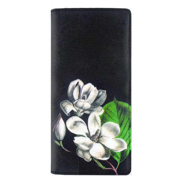 Online shopping for vegan brand LAVISHY's vegan/faux leather vintage style magnolia flower print vegan large wallet. It's a great gift idea for you or your friends & family. Wholesale available at www.lavishy.com with many unique & fun fashion accessories.