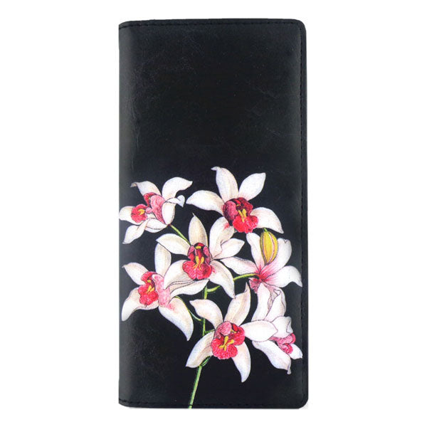 Shop PETA approved vegan brand LAVISHY's vegan/faux leather vintage style orchid flower print vegan large wallet. It's a great gift idea for you or your friends & family. Wholesale available at www.lavishy.com with many unique & fun fashion accessories.