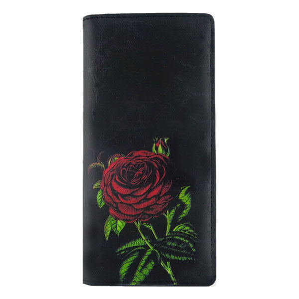 Online shopping for vegan brand LAVISHY's vegan/faux leather vintage style rose flower print vegan large wallet. It's a great gift idea for you or your friends & family. Wholesale available at www.lavishy.com with many unique & fun fashion accessories.