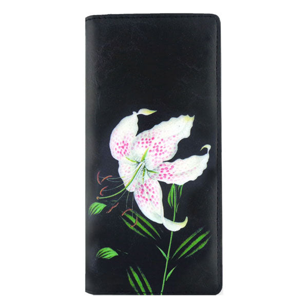 Online shopping for vegan brand LAVISHY's vegan/faux leather vintage style lily flower print vegan large wallet. It's a great gift idea for you or your friends & family. Wholesale available at www.lavishy.com with many unique & fun fashion accessories.