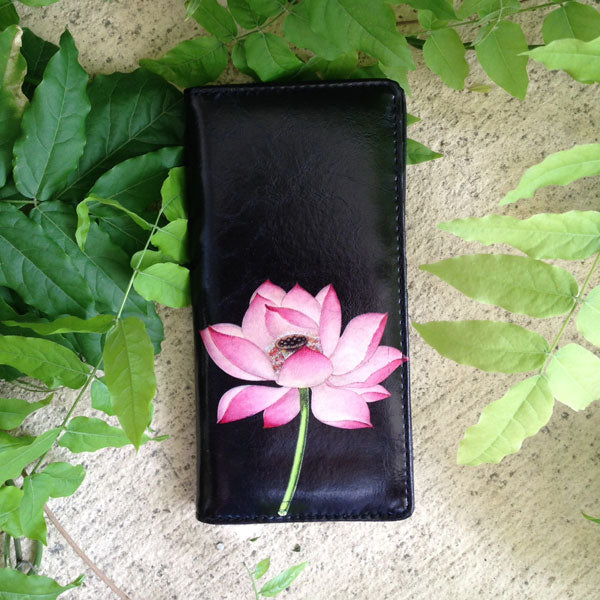 Shop PETA approved vegan brand LAVISHY's vegan/faux leather vintage style lotus flower print vegan large wallet. It's a great gift idea for you or your friends & family. Wholesale available at www.lavishy.com with many unique & fun fashion accessories.