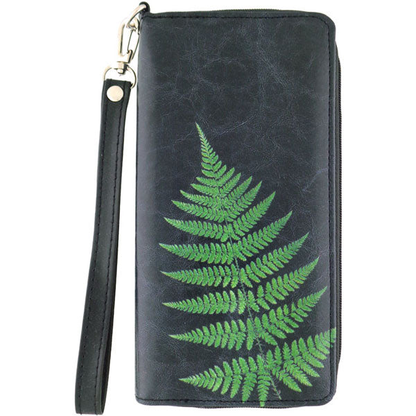 Shop PETA approved vegan brand LAVISHY's vegan/faux leather vintage style fern leaf print large wristlet wallet. It's a great gift idea for you or your friends & family. Wholesale available at www.lavishy.com with many unique & fun fashion accessories.