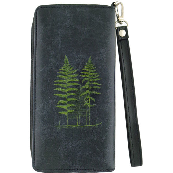 Shop vegan brand LAVISHY's vegan/faux leather vintage style fern leaf print large wristlet wallet. It's a great gift idea for you or your friends & family. Wholesale available at www.lavishy.com with many unique & fun fashion accessories.