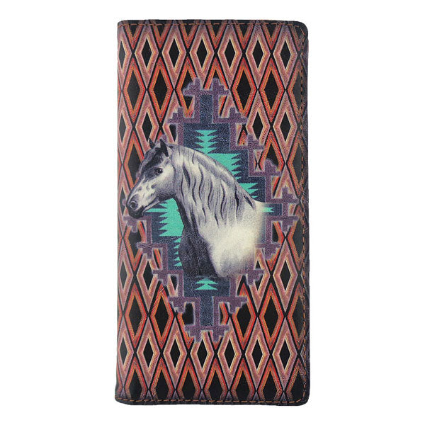 Shop PETA approved vegan brand LAVISHY's vegan/faux leather vintage style horse print vegan large wallet. It's a great gift idea for you or your friends & family. Wholesale available at www.lavishy.com with many unique & fun fashion accessories.
