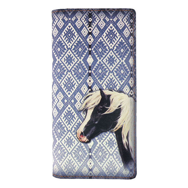 Shop vegan brand LAVISHY's vegan/faux leather vintage style horse print vegan large wallet. It's a great gift idea for you or your friends & family. Wholesale available at www.lavishy.com with many unique & fun fashion accessories.