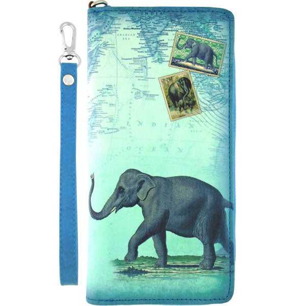 Online shopping for vegan brand LAVISHY's vintage style elephant print vegan wristlet large wallet. Great for everyday use & travel, a cool gift for animal loving family & friends. Wholesale at www.lavishy.com for gift shops, fashion accessories and clothing boutiques, book stores cross Canada since 2001.