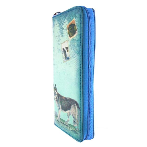 Online shopping for vegan brand LAVISHY's vintage style wolf print vegan wristlet large wallet. Great for everyday use & travel, a cool gift for animal loving family & friends. Wholesale at www.lavishy.com for gift shops, fashion accessories and clothing boutiques, book stores cross Canada since 2001.