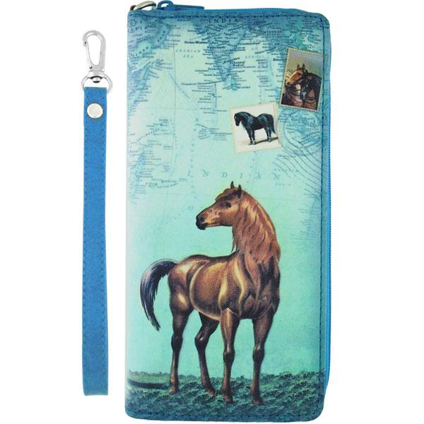 Online shopping for vegan brand LAVISHY's vintage style horse print vegan wristlet large wallet. Great for everyday use & travel, a cool gift for animal loving family & friends. Wholesale at www.lavishy.com for gift shops, fashion accessories and clothing boutiques, book stores cross Canada since 2001.