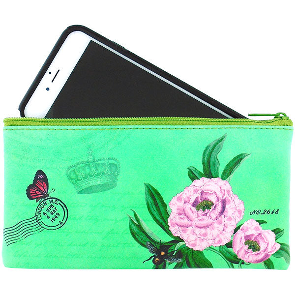 Online shopping for vegan brand LAVISHY's Eco-friendly, ethically made, cruelty free small flat/pencil/cell phone pouch for women. It features delightful peony flower & butterfly print. Wholesale at www.lavishy.com along with other unique & fun vegan fashion accessories for retailers like gift Online shopping for & boutique.
