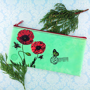 Online shopping for vegan brand LAVISHY's Eco-friendly, ethically made, cruelty free small flat/pencil/cell phone pouch for women. It features delightful poppy flower & butterfly print. Wholesale at www.lavishy.com along with other unique & fun vegan fashion accessories for retailers like gift Online shopping for & boutique.