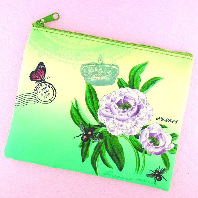 Online shopping for LAVISHY's  Eco-friendly, ethically made, cruelty free medium flat pouch for women features delightful peony flower print. Wholesale available at www.lavishy.com along with other unique & fun vegan fashion accessories for retailers like gift Online shopping for & boutique.