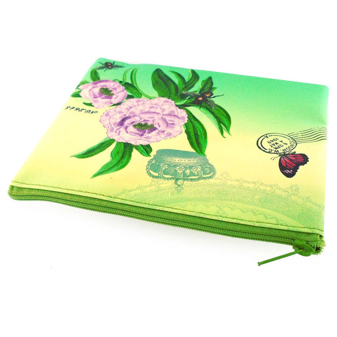 6-305: Peony flower print vegan medium flat pouch