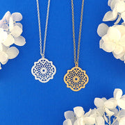 Online shopping for vegan brand LAVISHY's unique, beautiful & affordable sterling silver or 12k gold plated Moroccan pattern filigree necklace. Great for everyday wear or gift for family and friends. Wholesale available at www.lavishy.com for gift shops, fashion accessories & clothing boutiques in Canada, USA & worldwide since 2001.