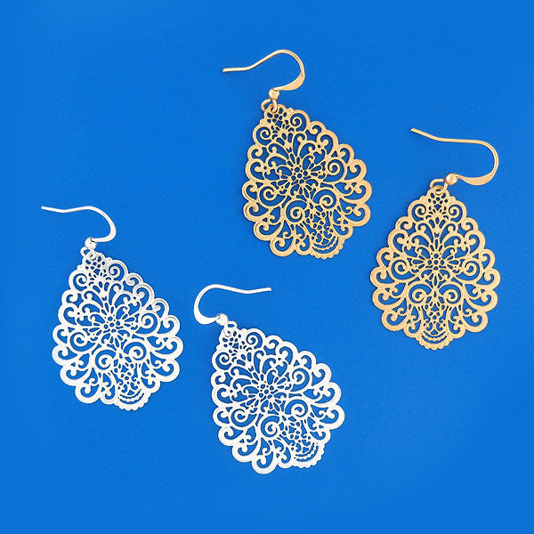 Shop LAVISHY 925 sterling silver or 12k gold plated filigree earrings. For gift shop, boutique and corporate volume buyer to place wholesale order, please visit http://www.lavishy.com/lookbook/lavishy-abiya-collection-wholesale-925silver-12k-gold-plating-filigree-earrings-necklaces-look-book.htm