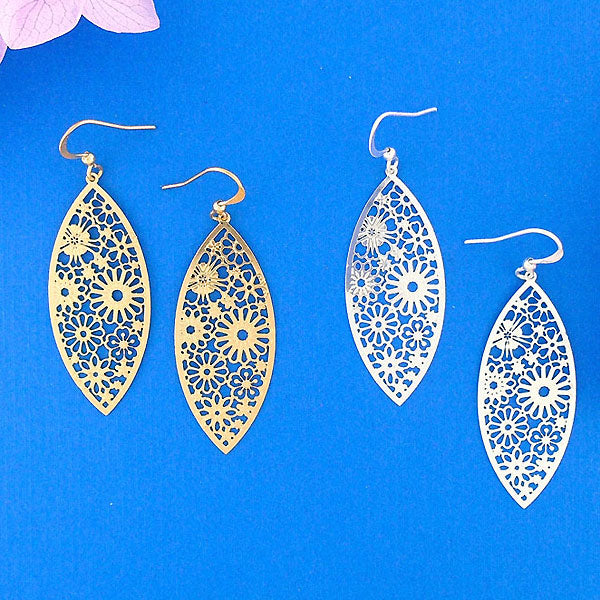 66-013: Silver/gold plated filigree earrings