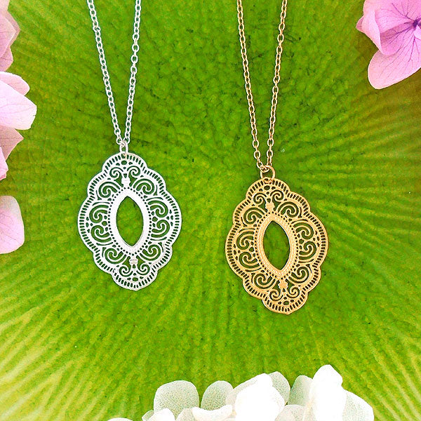 Shop LAVISHY 925 sterling silver or 12k gold plated filigree necklaces. For gift shop, boutique and corporate volume buyer to place wholesale order, please visit http://www.lavishy.com/lookbook/lavishy-abiya-collection-wholesale-925silver-12k-gold-plating-filigree-earrings-necklaces-look-book.htm