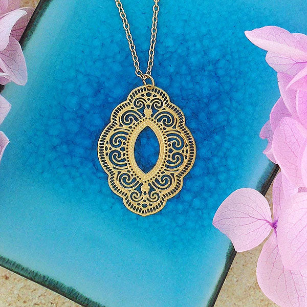 Shop LAVISHY 12k gold plated filigree necklaces. For gift shop, boutique and corporate volume buyer to place wholesale order, please visit http://www.lavishy.com/lookbook/lavishy-abiya-collection-wholesale-925silver-12k-gold-plating-filigree-earrings-necklaces-look-book.htm