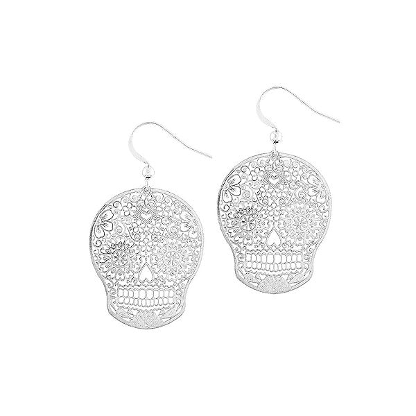 Online shopping for vegan brand LAVISHY's unique, beautiful & affordable 925 sterling silver or 12k gold plated day of the dead sugar skull filigree earrings. A great gift for you or your girlfriend, wife, co-worker, friend & family. Wholesale available at www.lavishy.com with many unique & fun fashion accessories.