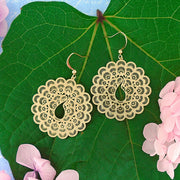 66-033: Silver/gold plated filigree peacock earrings