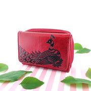 7-0001: Peacock embossed vegan small wallet
