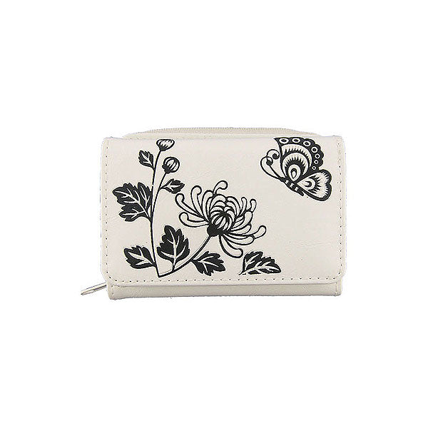 Shop LAVISHY embossed chrysanthemum & butterfly vegan/faux leather small/trifold wallet. This product is also available for wholesale at www.lavishy.com with other unique & fun vegan bags, wallets, coin purses, travel accessories, fashion jewelry & gifts designed by vegan brand LAVISHY.