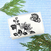Online shopping for vegan brand LAVISHY's Eco-friendly cruelty free embossed chrysanthemum & butterfly vegan small/trifold wallet for women. Great for everyday use, gift for family & friends. Wholesale at www.lavishy.com for gift shops, fashion accessories & clothing boutiques, book stores in Canada, USA & worldwide.