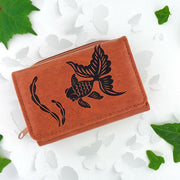 Online shopping for vegan brand LAVISHY's Eco-friendly cruelty free embossed goldfish vegan small/trifold wallet for women. Great for everyday use, gift for family & friends. Wholesale at www.lavishy.com for gift shops, fashion accessories & clothing boutiques, book stores in Canada, USA & worldwide.