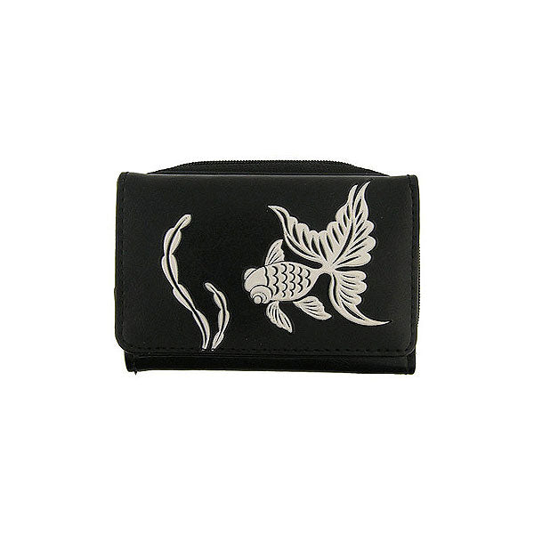 Shop LAVISHY embossed goldfish vegan/faux leather small/trifold wallet. This product is also available for wholesale at www.lavishy.com with other unique & fun vegan bags, wallets, coin purses, travel accessories, fashion jewelry & gifts designed by PETA approved vegan brand LAVISHY.