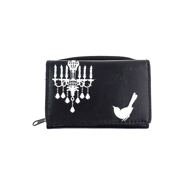 Shop LAVISHY embossed bird & chandelier vegan/faux leather small/trifold wallet. This product is also available for wholesale at www.lavishy.com with other unique & fun vegan bags, wallets, coin purses, travel accessories, fashion jewelry & gifts designed by PETA approved vegan brand LAVISHY.