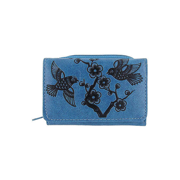 Shop LAVISHY embossed love birds & flower vegan/faux leather small/trifold wallet. This product is also available for wholesale at www.lavishy.com with other unique & fun vegan bags, wallets, coin purses, travel accessories, fashion jewelry & gifts designed by PETA approved vegan brand LAVISHY.