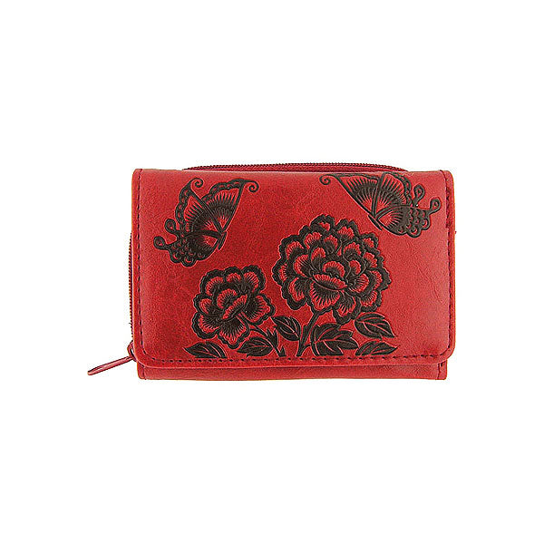 Shop LAVISHY embossed peony & butterfly vegan/faux leather small/trifold wallet. This product is also available for wholesale at www.lavishy.com with other unique & fun vegan bags, wallets, coin purses, travel accessories, fashion jewelry & gifts designed by PETA approved vegan brand LAVISHY.