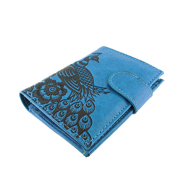 Shop LAVISHY embossed peacock vegan/faux leather medium wallet. This product is available for wholesale at www.lavishy.com where gift shop & boutique buyer can order wholesale from vegan brand LAVISHY for unique & fun vegan fashion accessories & gifts.