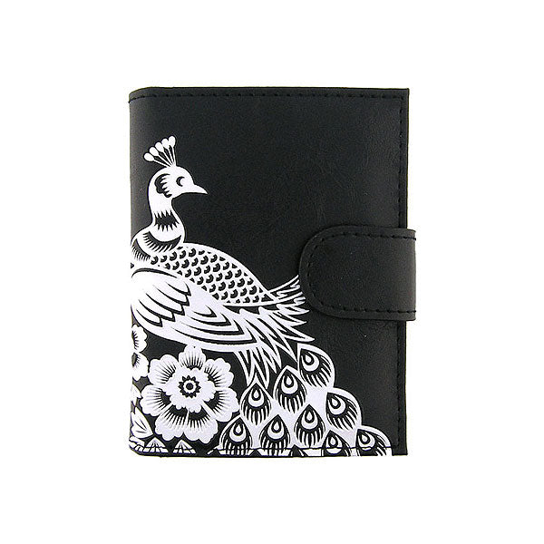 Shop LAVISHY embossed peacock vegan/faux leather medium wallet. This product is available for wholesale at www.lavishy.com where gift shop & boutique buyer can order wholesale from PETA approved vegan brand LAVISHY for unique & fun vegan fashion accessories & gifts.