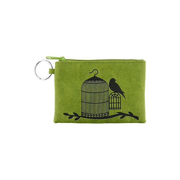 Online shopping for vegan brand LAVISHY's charming embossed bird out of cage vegan key ring coin purse. Great for everyday use, fun gift for family & friends. Wholesale at www.lavishy.com for gift shop, clothing & fashion accessories boutique, book store in Canada, USA & worldwide since 2001.