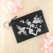 Online shopping for vegan brand LAVISHY's charming embossed love birds & flower vegan key ring coin purse. Great for everyday use, fun gift for family & friends. Wholesale at www.lavishy.com for gift shop, clothing & fashion accessories boutique, book store in Canada, USA & worldwide since 2001.