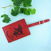 Online shopping for vegan brand LAVISHY's charming embossed goldfish vegan leather luggage tag. Great for travel, good luck gift for family & friends. Wholesale at www.lavishy.com for gift shop, clothing & fashion accessories boutique, book store in Canada, USA & worldwide since 2001.