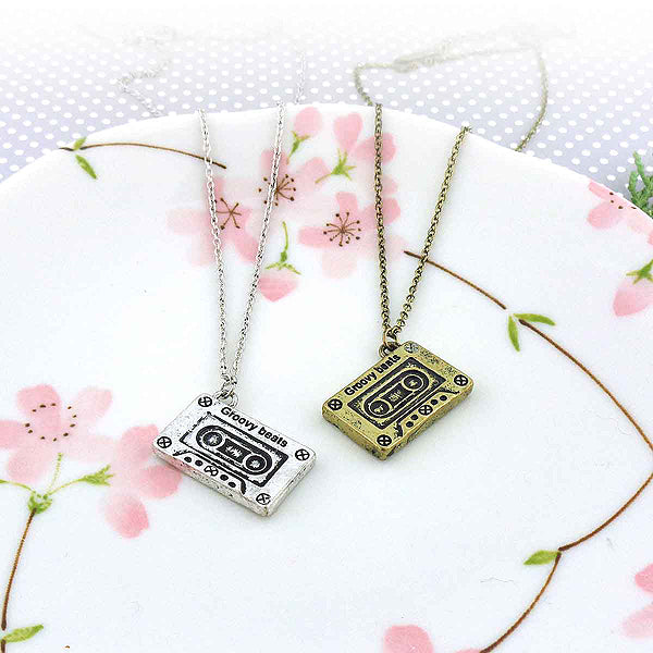 Online shopping for LAVISHY's unique, playful & affordable vintage look retro style cassette mix tape necklace. It's fun to wear everyday also make great gift for your family & friends. Wholesale at www.lavishy.com with many unique & fun fashion accessories to gift shop, clothing & fashion accessories boutique, book store since 2001.